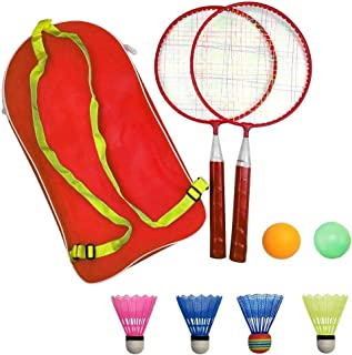 AIKESIWAY Badminton Racket for Children 1 Pair, Nylon Alloy Durable Professional Racquet Set for Children Indoor/Outdoor S...