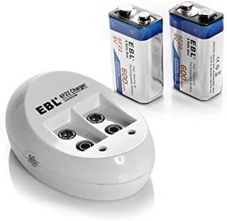 EBL 9V Li-ion Rechargeable Batteries (2PC) and Smart 9V Battery Charger
