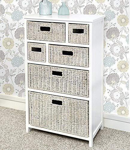 Tetbury Large White cabinet with 6 whitewash storage baskets, Solid hallway bathroom cabinet. Paneled sides and back. FULLY ASSEMBLED