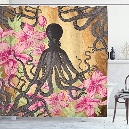 Ambesonne Kraken Octopus Roses Leaves Tentacles Octopi Vintage Antiqued Look Home Fashion Bathroom Textiles Decor Print Polyester Fabric Shower Curtain, Pink Fuchsia Green Gray Brown