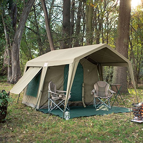 Delta Zulu Combo Canvas 4 Person Chalet Tent with Gazebo. Modular Basecamp Tent Solution with Waterproof Ripstop Military Grade Canvas. Four Season Canvas Camping Tents by Bushtec Adventure.