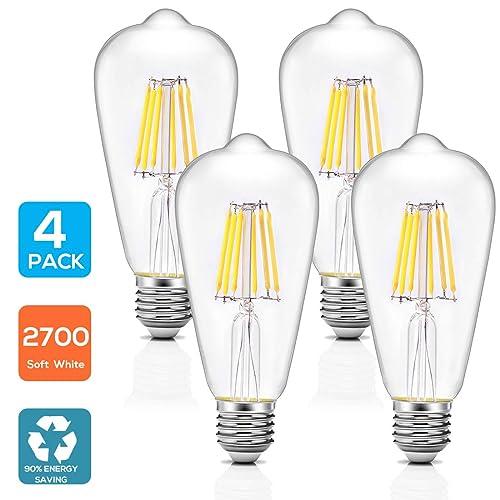 4 Pack Bombilla LED E27, AVAWAY 6W Vintage Bombilla Edison, Equivalente a 60W Incandescente