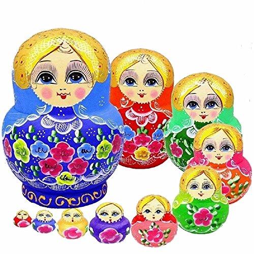 King\&Light - 10pcs Peony Multicolor Russian Nesting Dolls Matryoshka Toys by K\&L