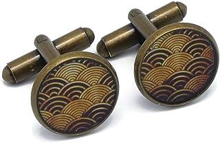 2 gemelli resina seigaiha giappone oro nero ottone 14mm regali personalizzati regalo di natale anniversario cerimonia matr...