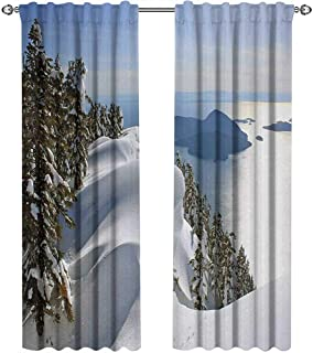 Winter, Curtains Small Window, Pacific Ocean Meets The Mountains Vancouver British Columbia Canada, Curtains Kitchen Window Set, W108 x L96 Inch, White Olive Green Blue