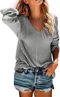 Casual Pullover for Women,MILIMIEYIK✧Women Fashion Long Sleeved Deep V-Neck Knit T-Shirt, Sexy Blouses, Single-Breasted Tops