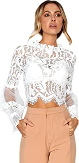 be7ada5b4541 Anglewolf Fashion Womens Solid Lace Sexy Casual Cotton Tops Shirts Hollow  Out Flare Long Sleeve Short