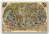 Italian Map Old World Exploration Angel & Cherub by Paolo Forlani circa 1565 - Universale Descrittione Di Tutta la Terra Conosciuta Fin Qui - measures 24 inches x 36 inches (610 mm x 915 mm)