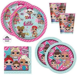 LOL Doll Birthday Party Supplies Set - Dinner and Cake Plates, Cups, Napkins, Decorations (Standard - Serves 16)
