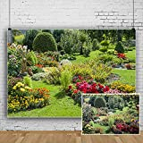 CSFOTO 10x7ft Spring Scenery Backdrop Colorful Blooming Flowers Garden Tea Party Background for Photography Nature Scene Leisure Vacation Tourism Photo Wallpaper