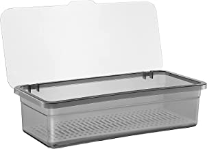 TOPBATHY Flatware Plastic Tray with Lid Kitchen Cutlery and Utensil Drawer Organizer Silverware Countertop Storage Contain...