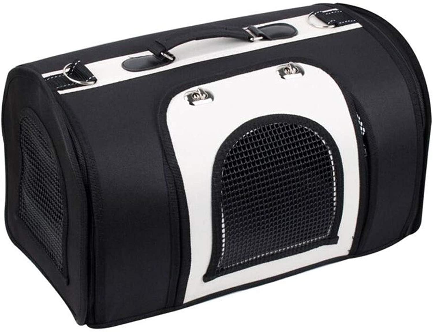 LYLa Lightweight Fabric Pet Carrier Crate with Mat Food Bag Portable Folding Pet Cage Pet Supplies (color   Black and White, Size   S)