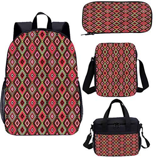 Aztec - Juego de mochilas escolares para niños, 17 pulgadas, triángulos y formas de diamante 4 en 1