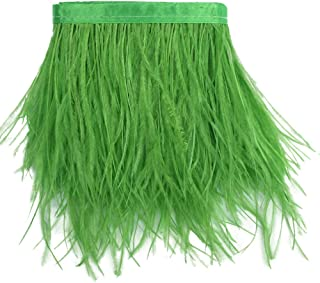 Sowder Ostrich Feathers Trims Fringe With Satin Ribbon Tape Dress Sewing Crafts Costumes Decoration Pack of 2 yards(lime green)