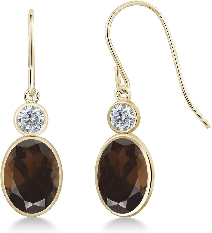 2.60 Ct Oval Brown Smoky Quartz G H Diamond 14K Yellow gold Earrings