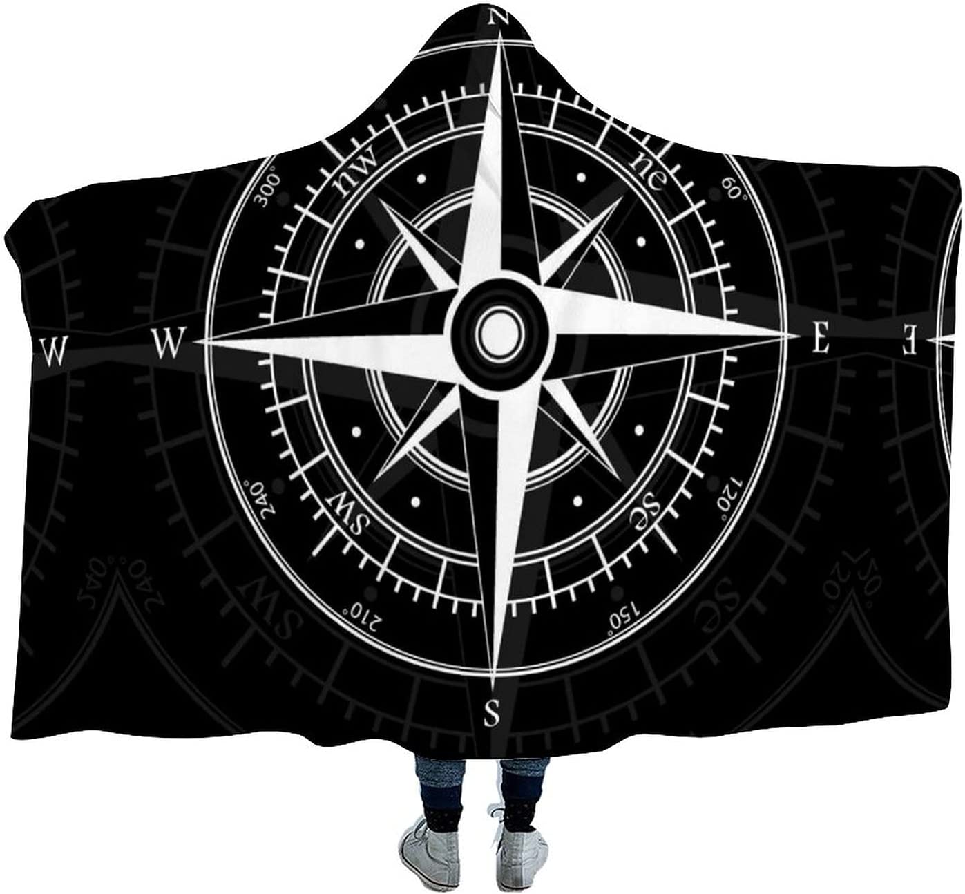 Compass with Wind-Rose New sales Arctic New Free Shipping Wearable Hoodie-Plu Blanket Velvet