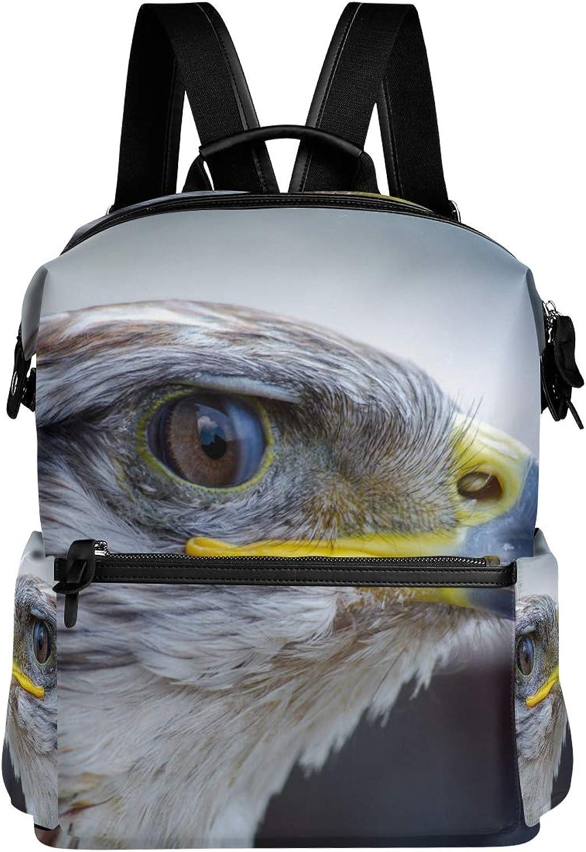 MONTOJ Bird Eagle Leather Travel Bag Campus Backpack