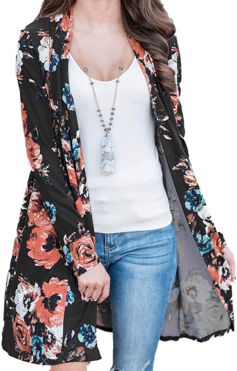 WFTBDREAM Fall Floral Kimono Cardigans for Women Long Sleeve Floral Print Outer