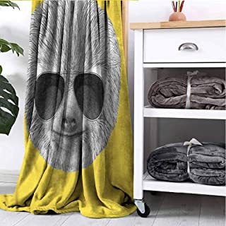 GAJIOE DIY Printing Blanket Sloth Bedroom Dorm Sofa Nursery Crate Hipster Animal Sunglasses W54 xL72