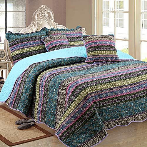Luofanfei Bettüberwurf Tagesdecke 270x250 cm Bett Baumwolle Boho Patchwork Stil Muster überdecke Steppdecke Quilt Gesteppt Sofaüberwurf Couch Vintage Schlafzimmer mit Kissen Set Grün Blau