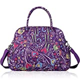 Lily & Drew Carry On Weekender Overnight Travel Shoulder Bag for 15.6 Inch Laptop Computers for Women (Purple-Peace-Hearts)