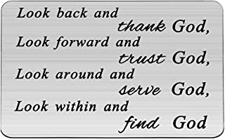 Zuo Bao Christian Wallet Insert Look Back and Thank God Look Forward and Trust God Christian Religious Quote Gift Bible Verse Wallet Insert Card Gift for Christian