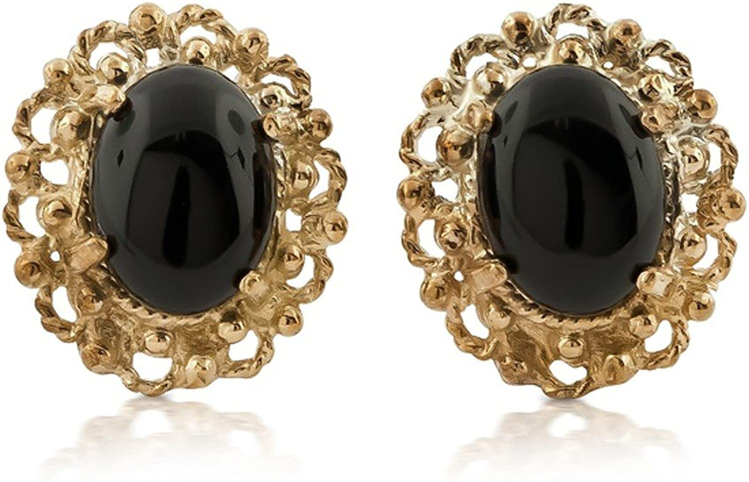14K Yellow gold Vintage Style Onyx Earrings