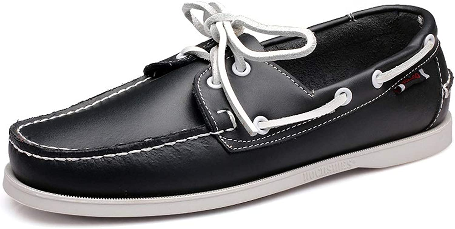 ZHRUI Classic Driving shoes for Men Lace up Genuine Leather Non Slip Boat shoes for Men (color   Black, Size   UK 8)
