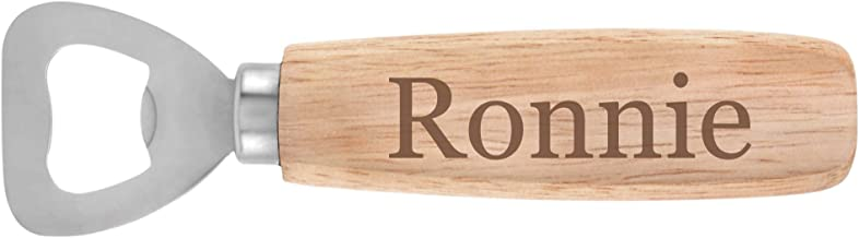Wood Handled Personalized Bottle Opener With Maple Finish - Laser Engraved - Ronnie (Georgia Font)