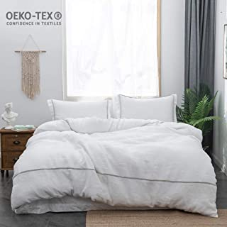 Simple&Opulence Hotel Collection Bedding Set 100% Stone Washed Linen Striped Duvet Cover Set