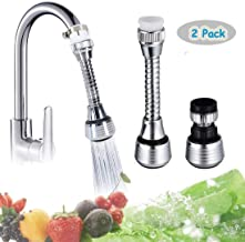 Bonaweite 360 Degrees Rotate Faucet Nozzle with Adjustable Faucet Joint Water-Saving Filter Sprayer Sprinkler Tap Water Bubbler Aerator Connector Faucet Accessories - 2 Pack