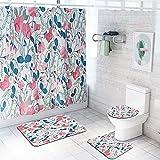 JIPMFYA Cortina de la duchaConjunto de Cortina para banheiro com Flores, Conjunto de tapetes antiderrapantes para banheiro, Vaso sanitário, almofada para pés, à Prova d'água