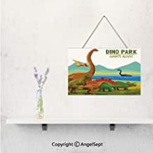 Personalized 3D Print on Wood Pallet with Jute Rope Hanger,Customized with Flying Swimming and Land Dinosaurs with Lake and Mountains Dino Park Wall Hanging bedroom and children's room Decorative