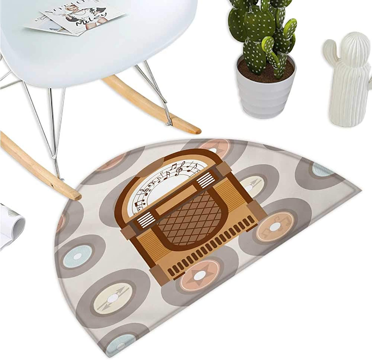 Jukebox Semicircle Doormat Pick Up Music with Vintage Abstract Long Players Backdrop Halfmoon doormats H 43.3  xD 64.9  Brown Pale Coffee Grey and Peach