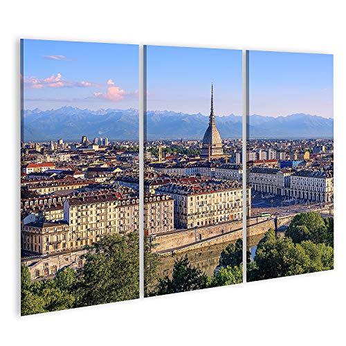 Cuadro en Lienzo El Centro de la Ciudad de Turín con la Torre de la Mole Antonelliana Panorama de Las montañas de los Alpes y Las orillas del río Po Cuadros Modernos Decoracion Impresión Salon