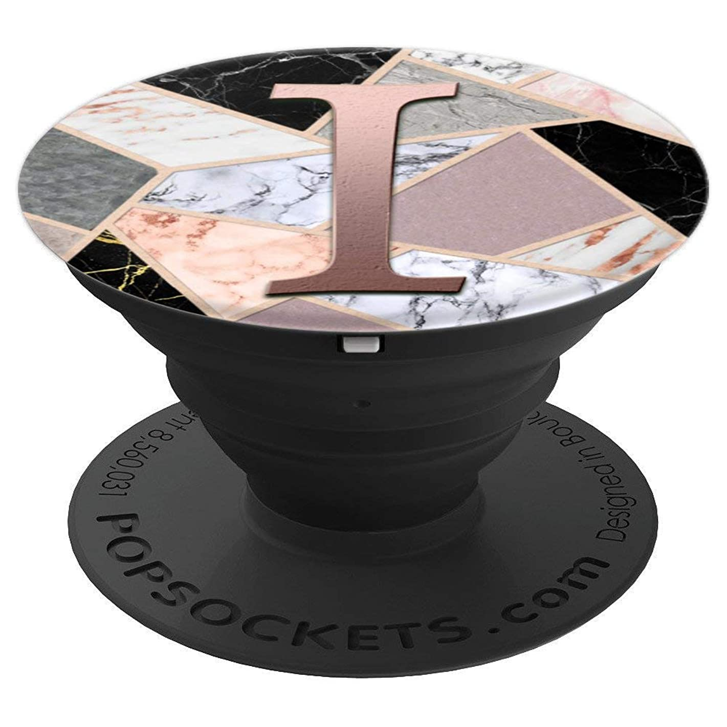 Rose Gold Letter I Pop Socket Black Marble Pink Gray White - PopSockets Grip and Stand for Phones and Tablets