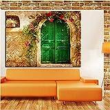Casa antigua europea con puertas verdes Pintura al óleo sobre lienzo Imagen de arte de pared para decoración de sala de estar A 60x80CM