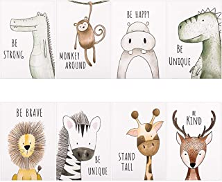 Phoetya Animal Wall Pictures Unframed,8 Pack Baby Jungle Theme Nursery Decor Pictures,Animal Wall Murals Print for Kids Be...