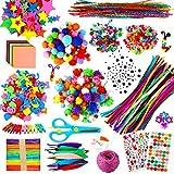 aovowog 1800+ Manualidades Niños DIY Arts Crafts Set,Creativo Kit Materiales para Manualidades,Juegos de Manualidades Incluye Pompoms,Limpiadores de Pipa,Pegatinas,Rosario,Regalo 5 6 7 8 años