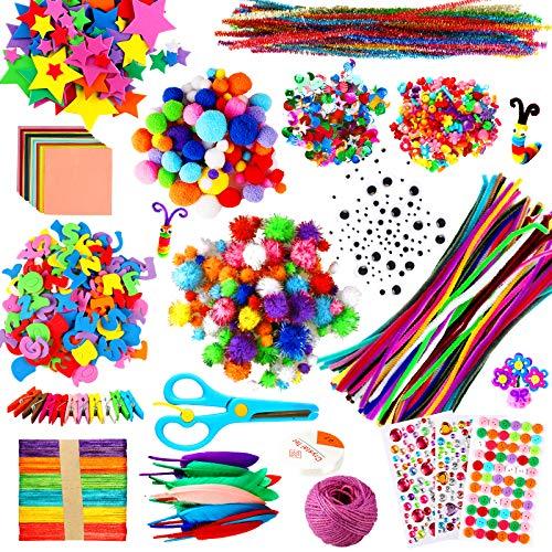aovowog 1800+ Bricolage Creativo Fai da Te per Bambini,DIY Kit per Lavoretti Creativi,Pompon Colorati,Scovolini Pipa,Cartoncini,Adesivi,Ciniglia Steli,Piuma,Paillettes,Occhi Finti