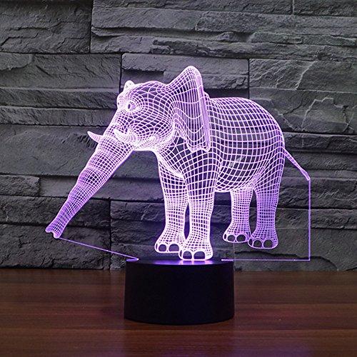 3D Illusion Nuit Lumière Win-Y LED Bureau Table Lampe 7 Couleur Tactile Lampe Maison Chambre Bureau Décor pour Enfants D'anniversaire De Noël Cadeau (l'éléphant)