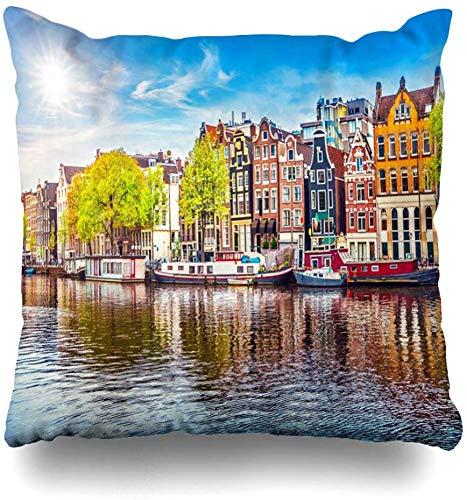 Fodere per cuscini da tiro River Spring Amsterdam Paesi Bassi Case da ballo sul famoso canale naturale Città europea Nube Home Decor Federa Federa,45X45 cm