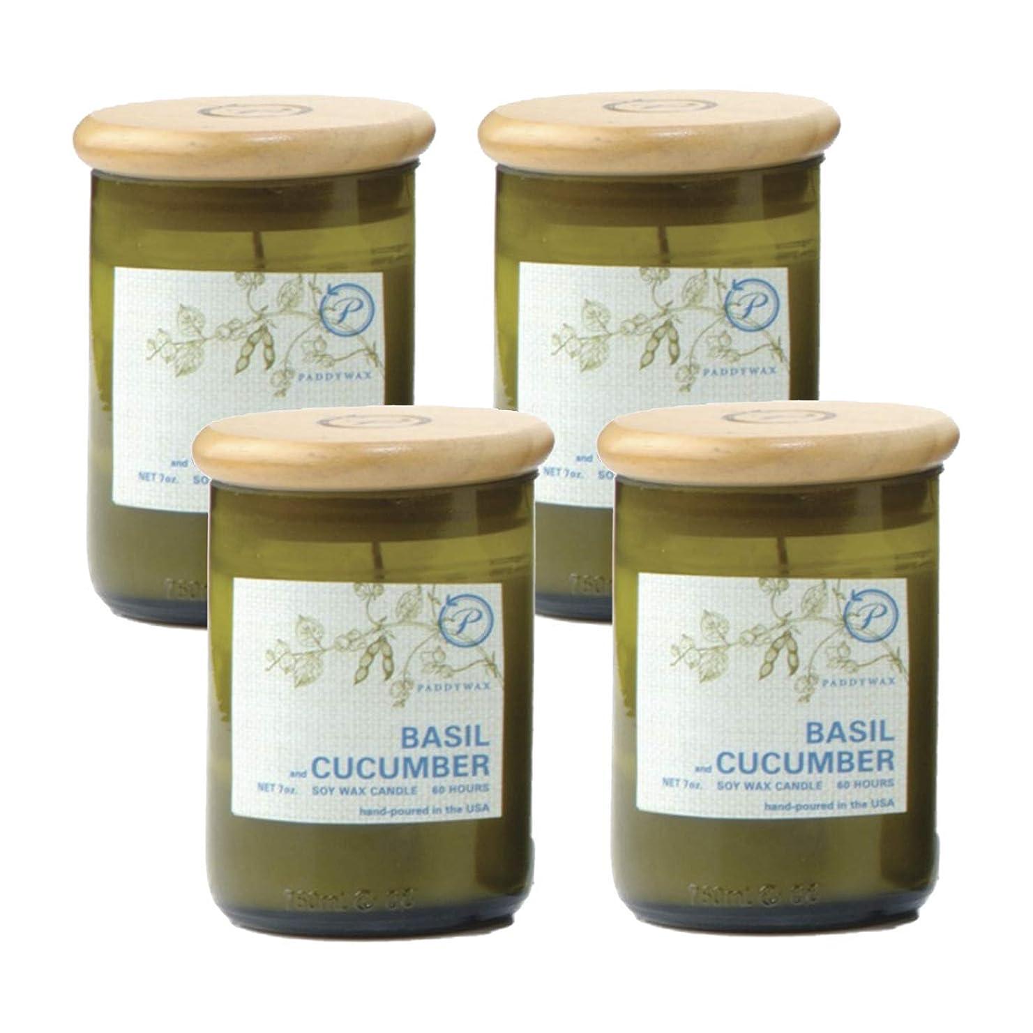 散文秘密の軽食パディワックス(PADDYWAX) ECO GREEN リサイクルグラスキャンドル バジル&キュウリ EG08-4P