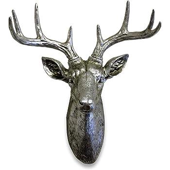 Vintage Stag Head Ornament Deer Elk Decor Sculpture Silver Resin Animal Wall Art