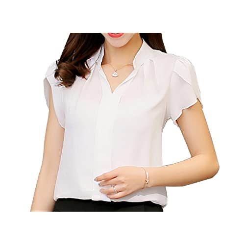 81f6912f Women's Polyester Blouse Short Sleeve V Neck Petite Elegant Shirt Korean  Fashion Wear to Work Tops