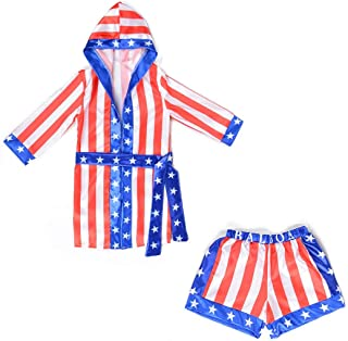 Boys Boxing Champion Costume Hooded Boxing Robe Set Kids Halloween Fancy Dress