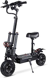 """روروک مخصوص بچه ها روروک مخصوص بچه ها قدرت بالا دوگانه 5600 وات موتور حداکثر سرعت 70KM/H 11 """"خلاء لاستیک خارج از جاده ، اسکوتر برقی بزرگسال با صندلی تاشو قابل جابجایی"""