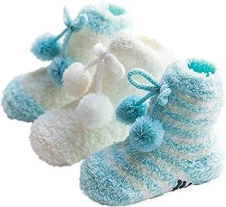 Calcetines de bebé 3 Pares de Calcetines de bebé para niños pequeños Calcetines de Colores Brillantes Calcetines Antideslizantes