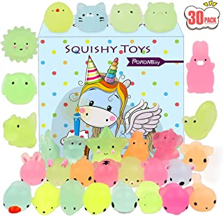 POKONBOY Mochi Squishy Toys Glow in The Dark for Party Favors - 30 Pack Mini Kawaii Cute Animal Squishies Stress Relief Sq...
