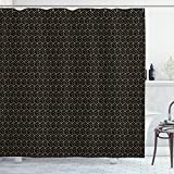 Ambesonne Geometric Shower Curtain, Golden Yellow Tone Ornamental Dimensional Polygonal Striped Cubes Print, Cloth Fabric Bathroom Decor Set with Hooks, 75' Long, Black and Pale Camel